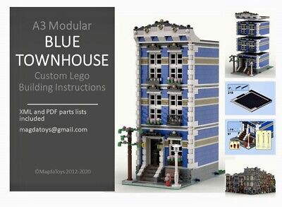 LEGO CUSTOM MODULAR INSTRUCTIONS MANUAL BLUE TOWNHOUSE PDF MOC A3 Train City • 8.49£