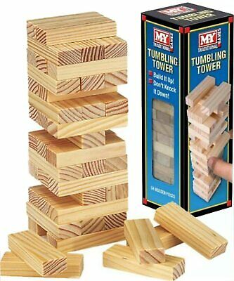 TUMBLING TOWER  Traditional Wooden Game Of Skill For KIDS CHILDREN ADULTS • 6.99£