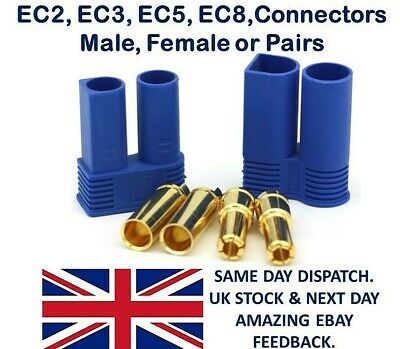 EC2 EC3 EC5 EC8 Connectors Male Female Pairs Plugs Socket Lipo Battery ESC RC UK • 1.85£