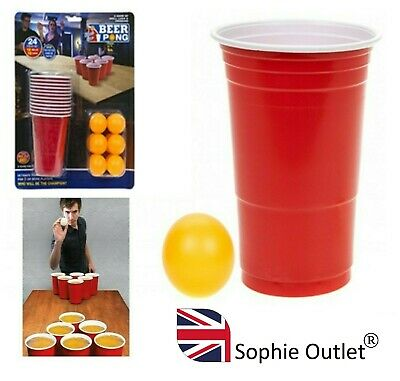 24pc Beer Pong Party Set Indoor Games Toy Table Game Art Craft Gift PMS619069 UK • 7.95£