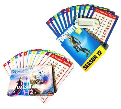 Times Tables Flash Cards - Home School Maths - Pocket Size - FORTNITE / FROZEN • 3.99£