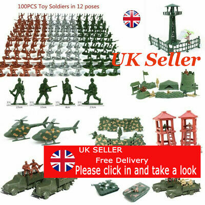 Military Model Playset Toy Soldiers Army Men Figures 12 Poses Kids Toys UK • 3.79£