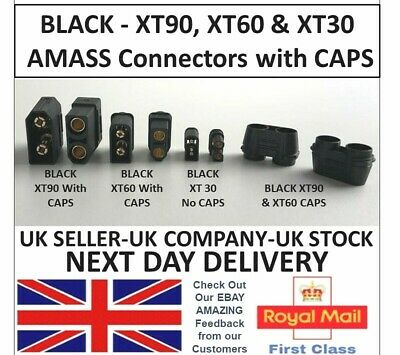 AMASS Black XT90 XT60 XT30 Battery Connectors Male Female Pair & Caps RC UK Lipo • 2.45£