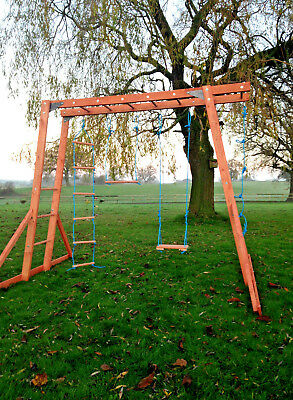 NEW Wooden Monkey Bars - Climbing Frame, Wooden Swings  • 214.99£