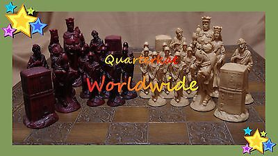 Vintage Chess Sets Pieces Men Boards Large Wood Resin Wooden Carved  • 862.50£