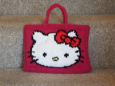New Hand Knitted Hello Kitty Bag. Fully Lined • 10£