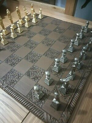 Gold And Rose Gold Plated, Ancient Egyptian Styled Chess Set, Rare Vintage... • 150£