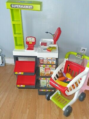 Smoby Supermarket Checkout WITH TROLLEY AND FOOD ITEMS • 15£