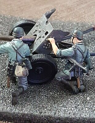 Toy Soldier 1.48 German Crew With 37mm. Pak 36 Metal Canon France 1940 • 7£