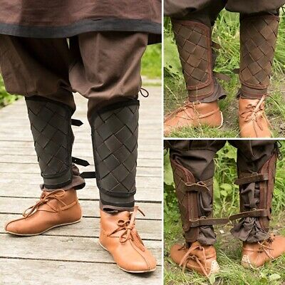 Leather Viking Greaves - Ideal For LARP / Theatre / Costume Use • 40£