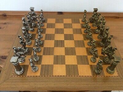 Cast Brass And White Metal Chess Set. • 80£