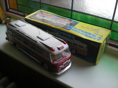 Tinplate Toy Coach Bus Tin Friction Drive Working Made In China Boxed Original • 45£