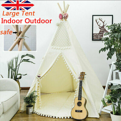 Large Canvas Children Indian Tent Teepee Kids Wigwam Indoor Outdoor Play House • 28.99£