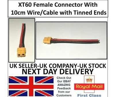 XT60 Female Connector To Cable/Lead Pigtail 10cm -ESC Lipo Battery Charger RC UK • 2.95£