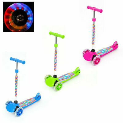 Childrens Kids Flashing Led Kick Push Scooter Adjustable Three Wheel Toy Gift • 19.99£