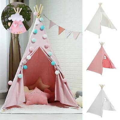 Large Kids Teepee Tent Wooden Playhouse Black Pink Grey White Gift For Boy Girl • 19.99£