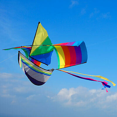 Rainbow Boat Single Line Kite - Easy And Fun To Fly - Great Gift Idea • 12.95£