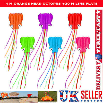 4m Soft Octopus Kite With 30m Line Children Flying Kite Kids Outdoor Toys Gift • 5.79£