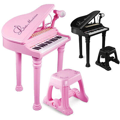 Kids Electronic Grand Piano Musical Instrument Keyboard Toy Microphone & Stool • 27.99£