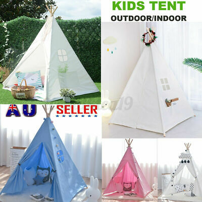 Large Children Indian Tent Teepee Canvas  Kids Wigwam Indoor Outdoor Play House • 17.99£