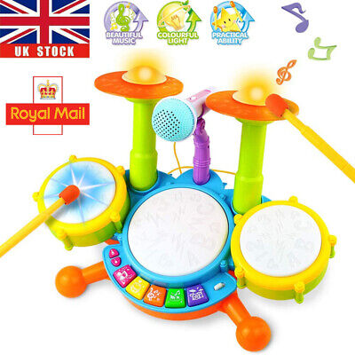 Kids Electronic Drum Kit Play Set Baby Musical Toy Instrument With Microphone UK • 14.96£
