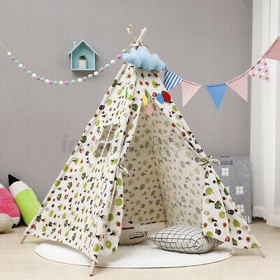 Large Children Tent Teepee Indian Canvas Wigwam Kids Play House 160cm Toy Gift • 19.99£