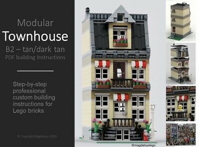 LEGO CUSTOM INSTRUCTIONS MODULAR MOC TOWNHOUSE MODEL B2 - PDF MANUAL Train City • 7.99£