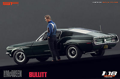 1:18 Steve McQueen Bullitt NO CAR !!! Figurine For 1:18 Autoart Ford Mustang SF • 66.77£