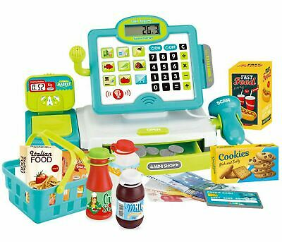 Kids  Electronic Cash Register Toy Lights & Sounds Supermarket Till & Play Food • 15.99£