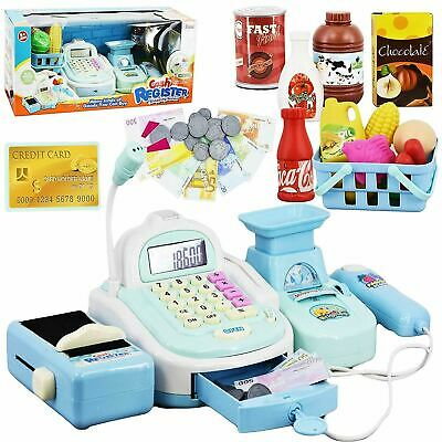 Kids Electronic Cash Register Toy Till Working Scan, Microphone Shopping Basket • 17.95£