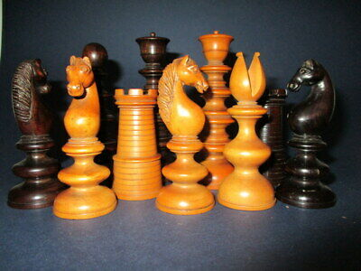 Superb Quality Victorian English Rosewood & Boxwood Chess Set • 560£