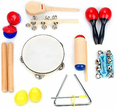 15 Pcs Wooden Kids Baby Musical Instrument Set Toys Children Toddlers Percussion • 17.99£