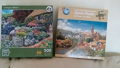 Jigsaw Puzzles  Cottage In Bloom And Czech City   • 1.20£