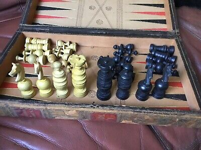 Vintage Antique Folding Board Chess Set - Wood Leather Bound Book Volumes Style • 30£
