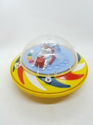 Vintage Ok Space Toys Plastic Flying Saucer Spaceship UFO Hong Kong + Spaceman • 34.99£