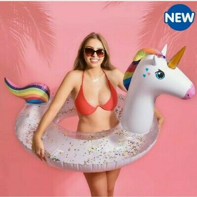 New Adult Unicorn Inflatable Queen Swimming Pool Beach Ring Summer Fun • 14.95£