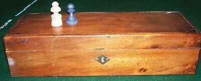 ANTIQUE 19c QUALITY BOX VELVET LINED FOR CHESS SET , ROSEWOOD OR MAHOGANY • 5£