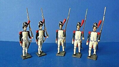 5 X Vintage CBG Mignot French Lead Marching Soldiers Napoleonic Wars No Box • 15£