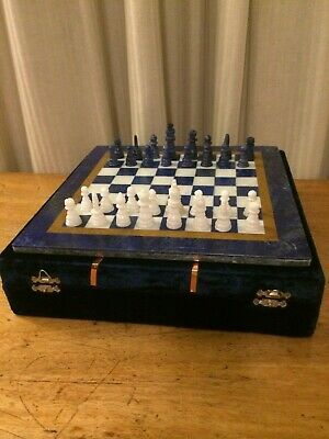 Lapis Lazuli Chess Set From Afghanistan In Presentation Box • 45£