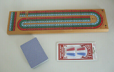 Wooden Cribbage Board With Cards & Extra Pins • 7.50£