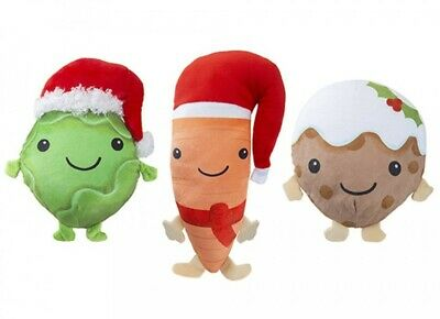 Set Of 3 Small Hanging Novelty Christmas Plush Teddy Carrot Xmas Pudding Sprout • 6.99£