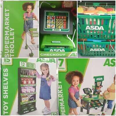 Asda Kids Total Shopping Experience 5 Piece Toy, Till,counter,food,trolley,shelf • 129.99£
