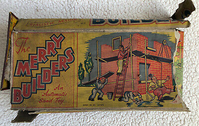 Rare Vintage CODEG Tinplate Merry Builders Automatic Sand Toy Boxed • 15£