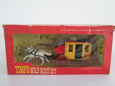 Vintage Timpo Toy Plastic Soldiers - Boxed Wild West Set Wells Fargo Stagecoach • 74.99£
