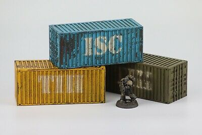 3x Medium 20' Containers MDF Kit Warhammer Scenery 40k Industrial Terrain City • 12.95£