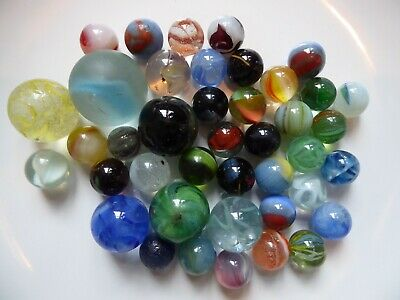 Job Lot Of Vintage Swirl Ribbon And Cloudy Coloured Glass Marbles  • 22£