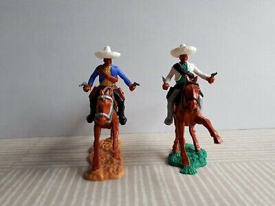 Vintage 1960s / 1970s Timpo Wild West Mexicans On Horseback, Firing Pistols • 16£