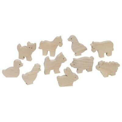 Wooden Farm Animals X 10*Natural Wood*Horse*Rabbit*Duck*Pig And More • 8.50£