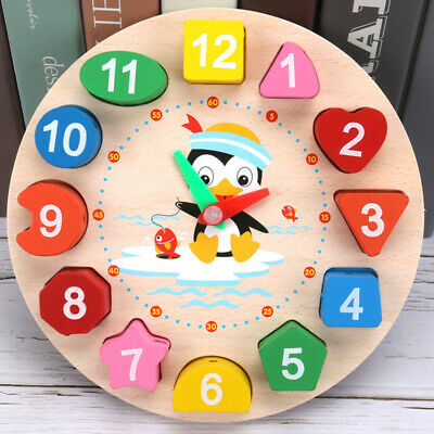Wooden Clock Puzzle Sorting Toy For Toddler Baby Kids Early Educational Play UK • 5.32£