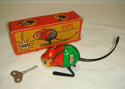 Vintage FIPS Tinplate Wind Up HOPPING MOUSE 1960's East German - NMIB • 19.95£
